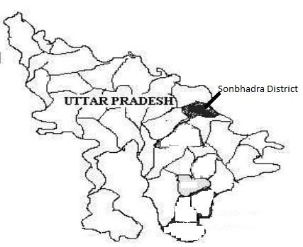 Location of Sonbhadra district of eastern Uttar Pradesh, India