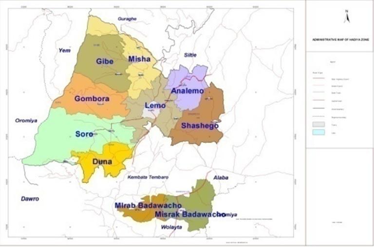 Administrative Map of Hadiya Zone.