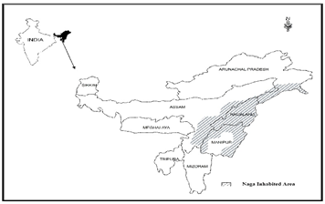 Map showing the location of Naga inhabited areas of N-E India