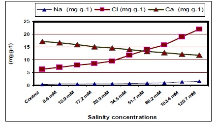 Leaf mineral content (Na, Cl and Ca) in jojoba leaves as affected by different salinity treatments