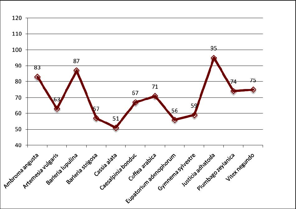 Percentage of AMF colonization in 12 medicinal plants