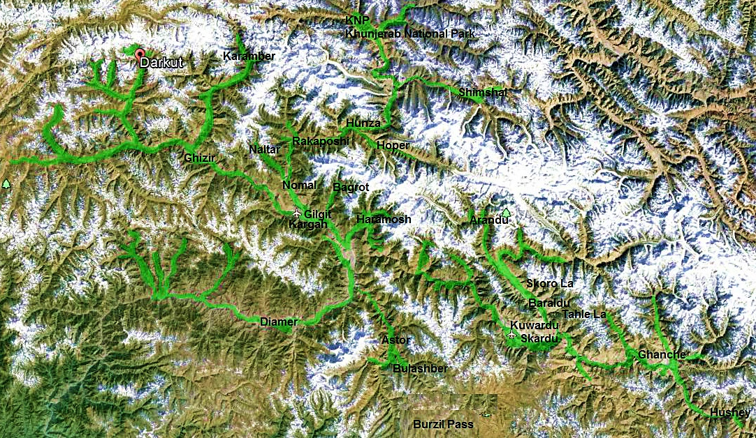 Light green areas show the locations of Berberis reports since 1935 from Gilgit-Baltistan (formerly called Northern Areas of Pakistan). Map created using Google Earth and Paint features in MS office 2010 by the first author.