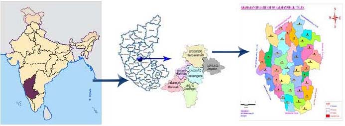 Location map of Harapanahalli taluk.