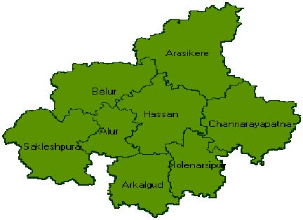 Map of Hassan district