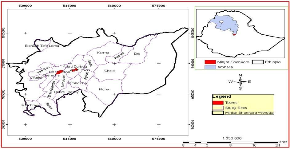 Location of Minjar-Shenkora District
