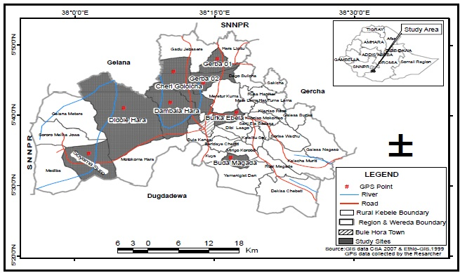 Map of Ethiopia showing the study area