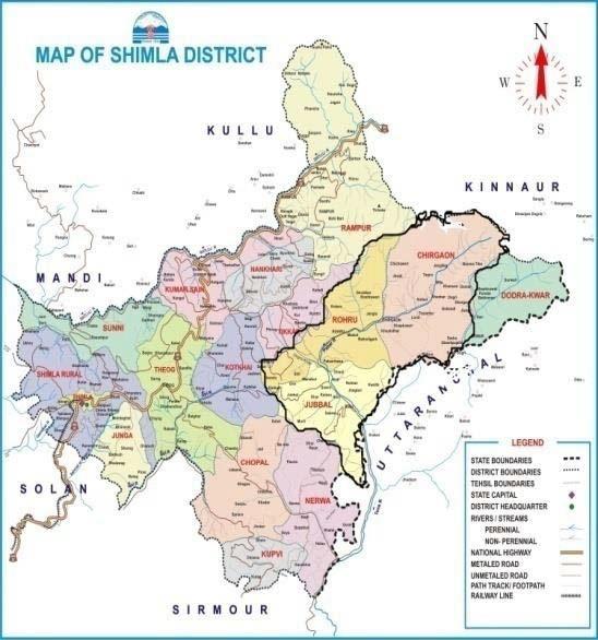 Map District Shimla, Himachal Pradesh