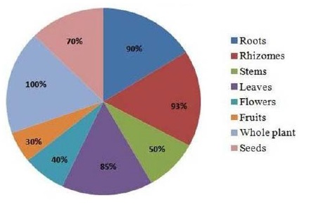 Percentage of plant parts used by tribal and local people in Kashmir Himalaya