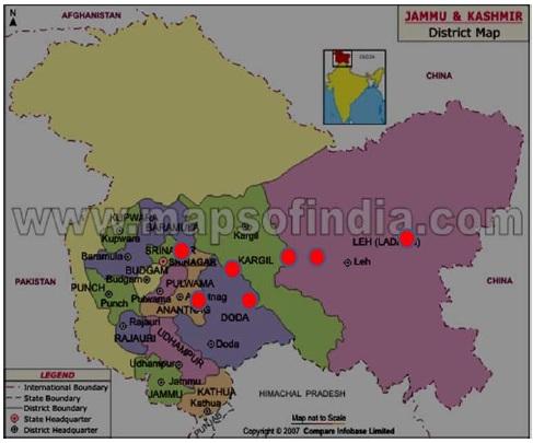 Red circles denotes the survey areas of Kashmir Himalaya