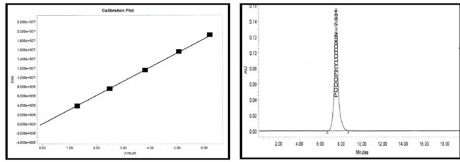 Calibration curve and chromatogram of standard podophyllotoxin.